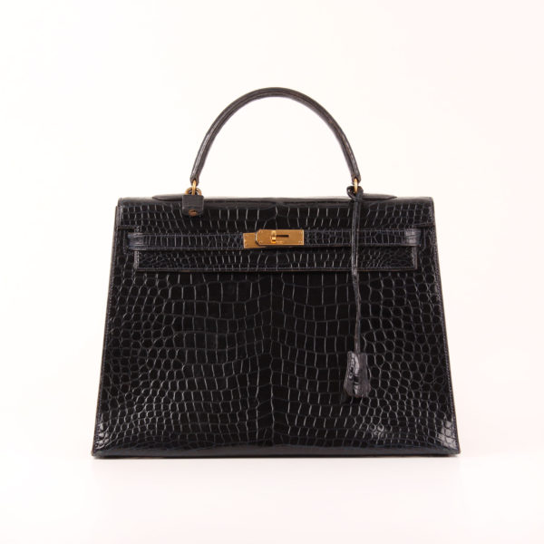 Frontal Image from hermes kelly bag 35 in crocodile leather porosus