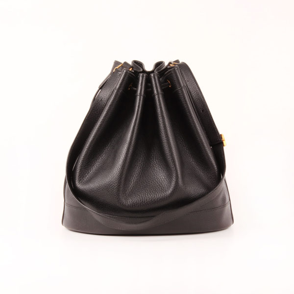 Front image of hermès market bucket bag togo black