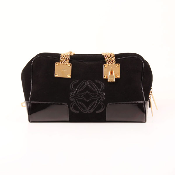 Front image of loewe bag amazona 28 special edition suede black golden chain