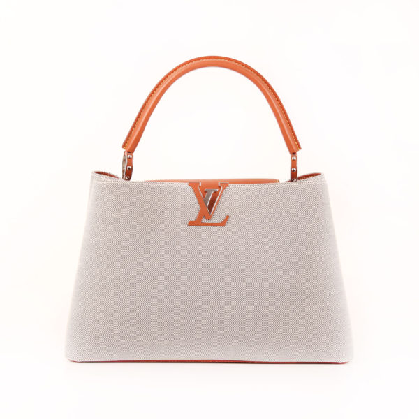 Front image of louis vuitton bag capucines mm mateo leather grey canvas