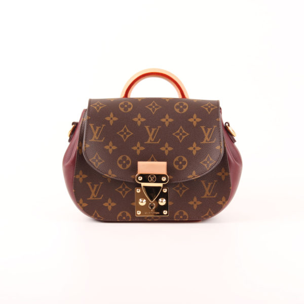 Front image of louis vuitton bag eden pm monogram burgundy natural leather