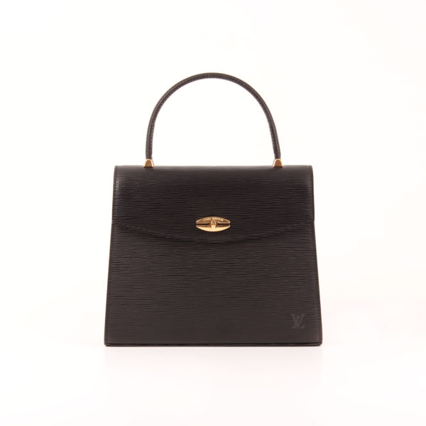 Front image of louis vuitton bag malesherbes épi black