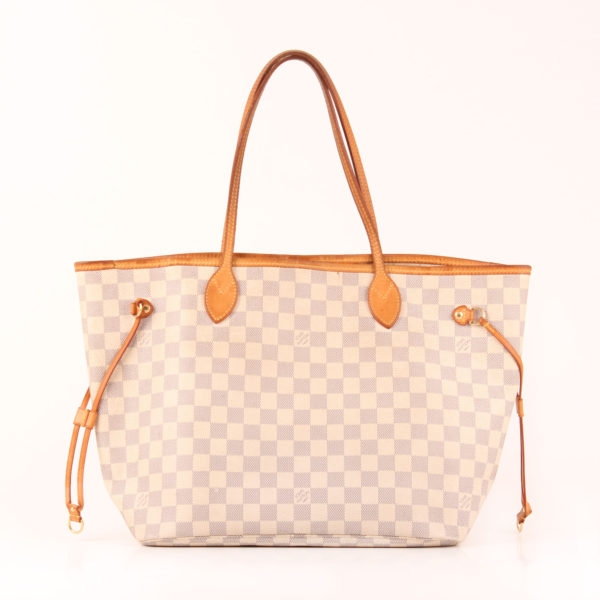 Front image of louis vuitton neverfull tote bag damier azur