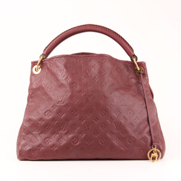 Front image from tote bag louis vuitton artsy mm embossed monogram burgundy