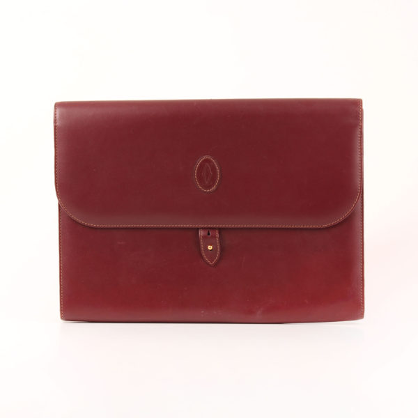 Front image of briefcase cartier must burgundy leather