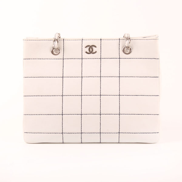Front image of chanel tote bag white square lambskin