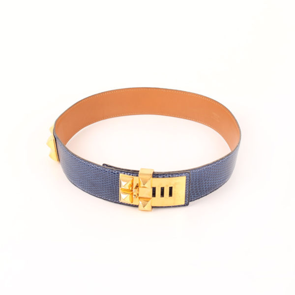 Image of belt medor hermes lizard skin collier de chien