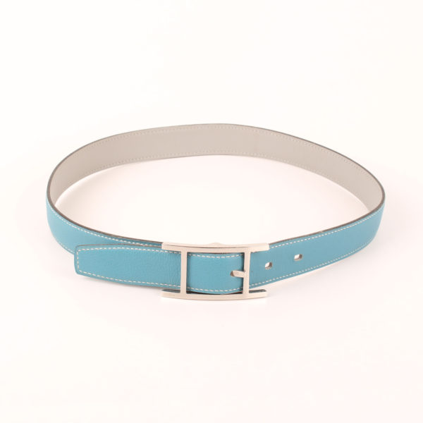 Image of waist shape from quentin hermes belt two-sided silver grey blue