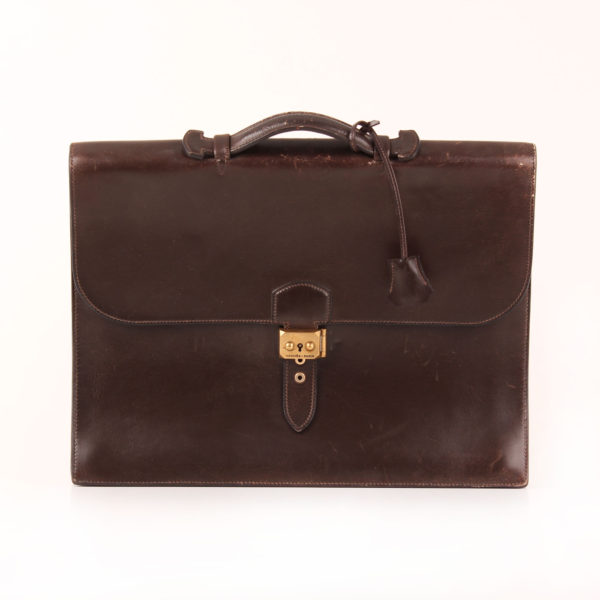 Front image from hermès briefcase sac à dépêche box calf brown