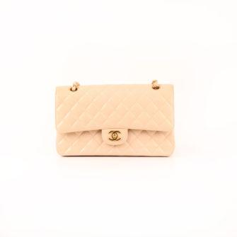 Imagen del bolso chanel double flap caviar beige frontal