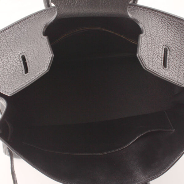 Imagen del interior del bolso hermes birkin 35 negro