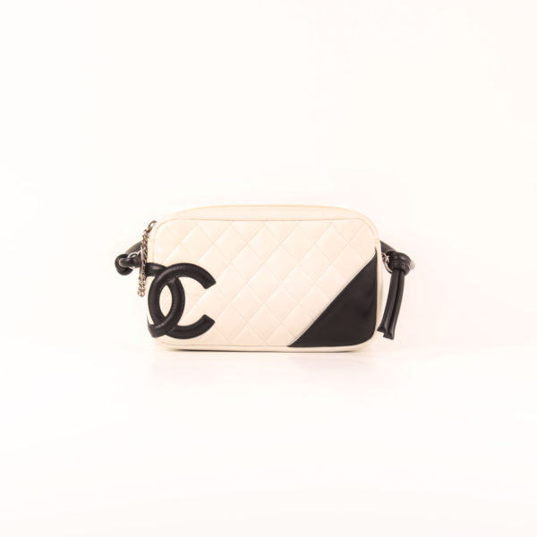 Front image of chanel cambon quilted pochette white