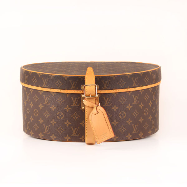 Front image of louis vuitton hat box cabin size monogram