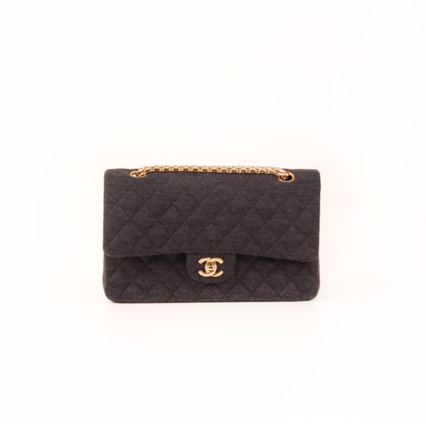 Front image of chanel jersey bag grey