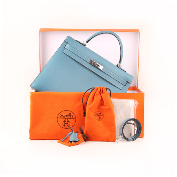 Imagen de la caja del bolso hermes kelly 35 azul