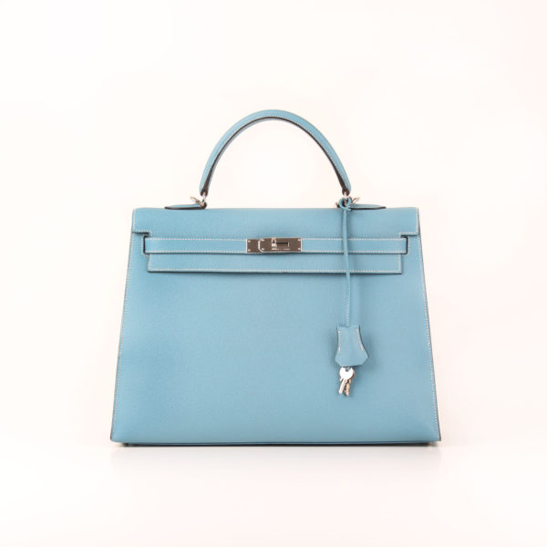 Imagen frontal del bolso hermes kelly 35 azul