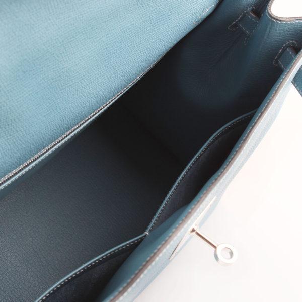 Interior image of hermes bag kelly 35 celeste