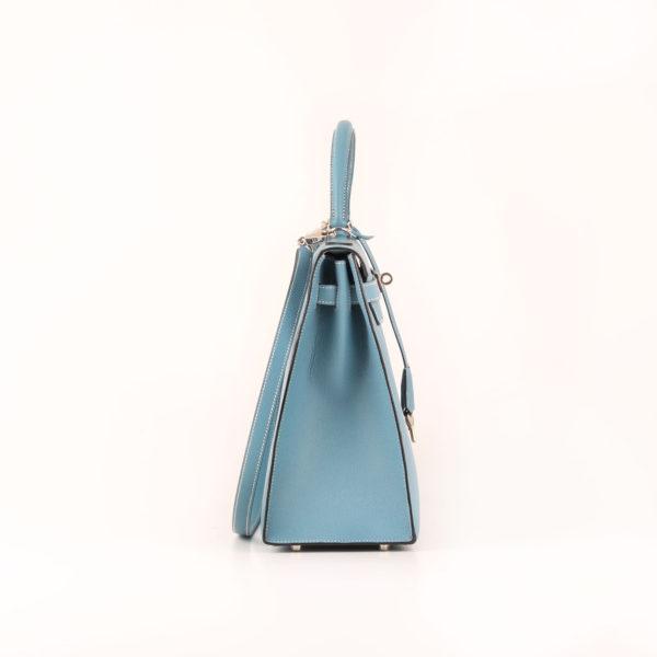 Imagen del lado 1 del bolso hermes kelly 35 azul