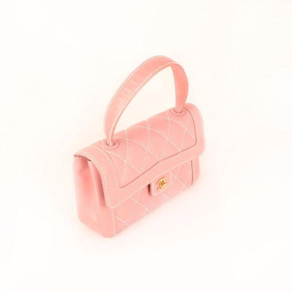Imagen general 2 del bolso chanel rosa costuras