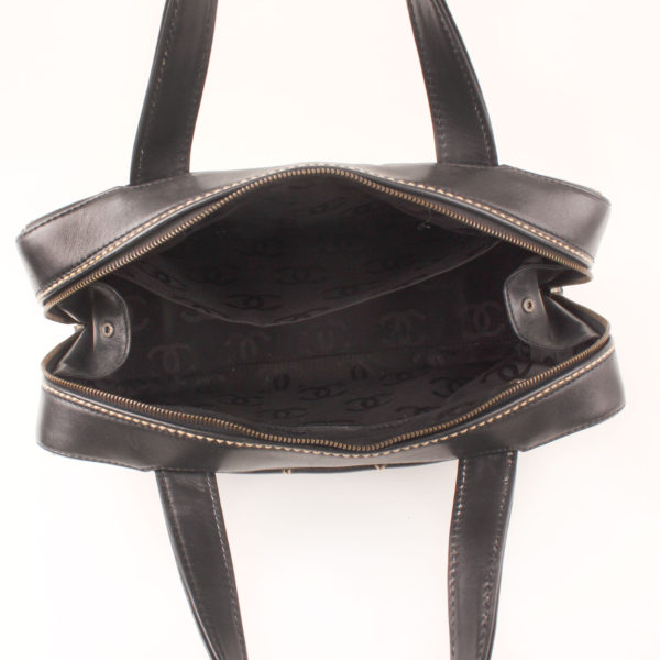 Lining image of chanel wild stitch black tote bag