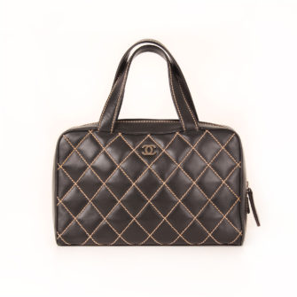 Front image of chanel wild stitch black tote bag
