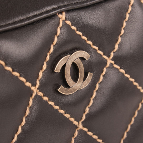 Logo image of chanel wild stitch black tote bag
