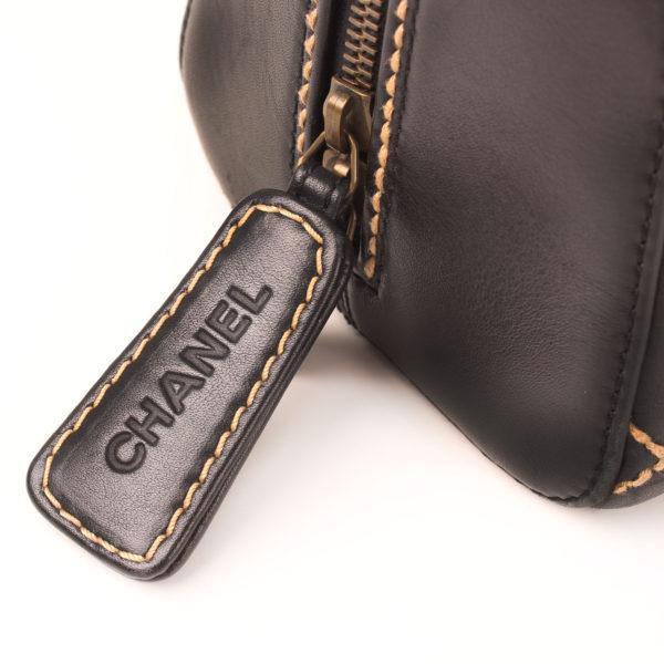 Zipper pul image of chanel wild stitch black tote bag