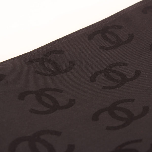 Lining detail of chanel wild stitch black tote bag