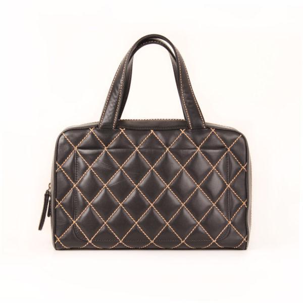 Back image of chanel wild stitch black tote bag
