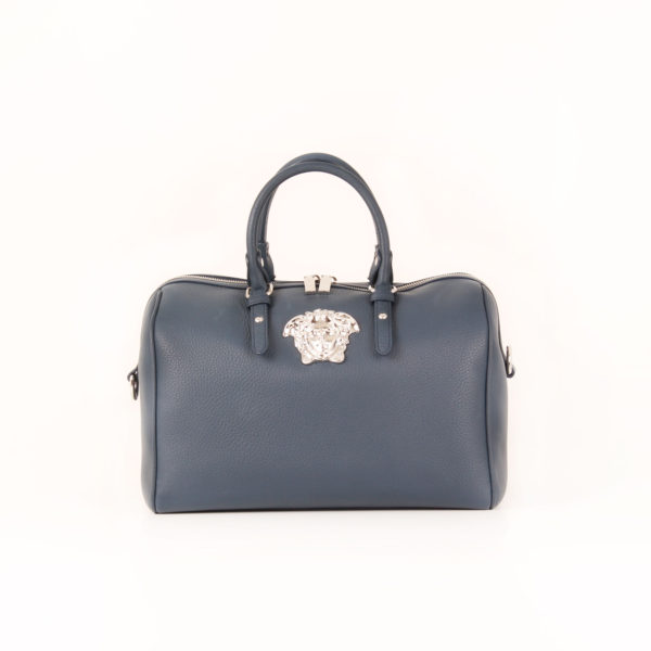 Front image of versace blue duffle bag
