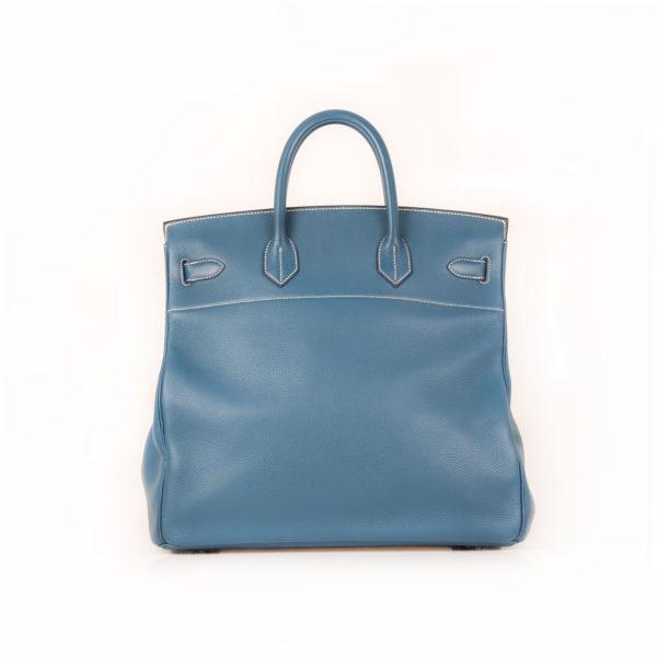 Imagen trasera de la bolsa hermes HAC azul
