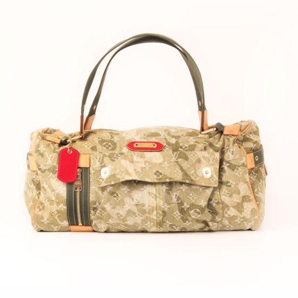 Front image of louis vuitton denim bag green