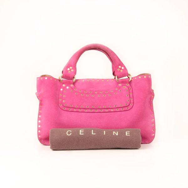 Imagen de la bolsa guardapolvo del bolso celine rosa