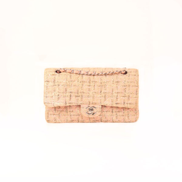 Front image of chanel pink tweed bag