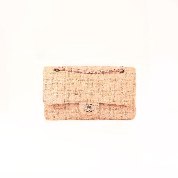 Front image of chanel pink tweed bag