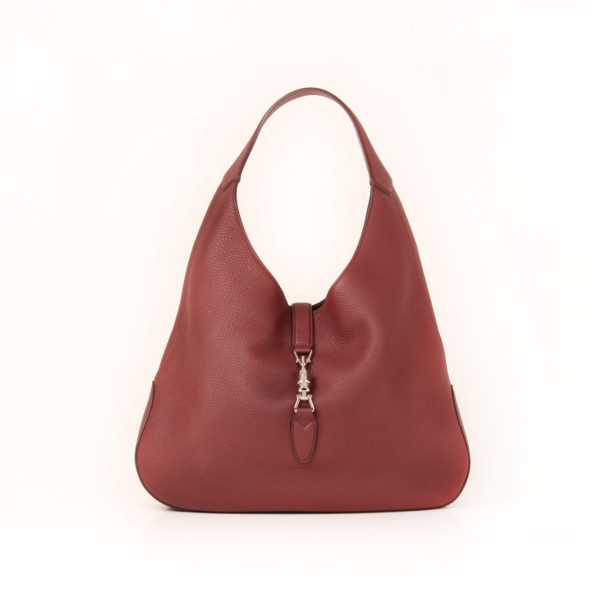 Front image of gucci jackie bag burgundy