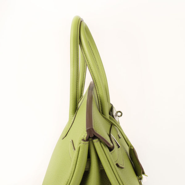 Imagen de las asas del bolso hermes birkin 35 anis