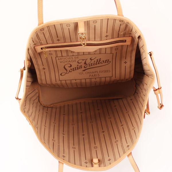 Imagen del interior del bolso louis vuitton neverfull monogram mm