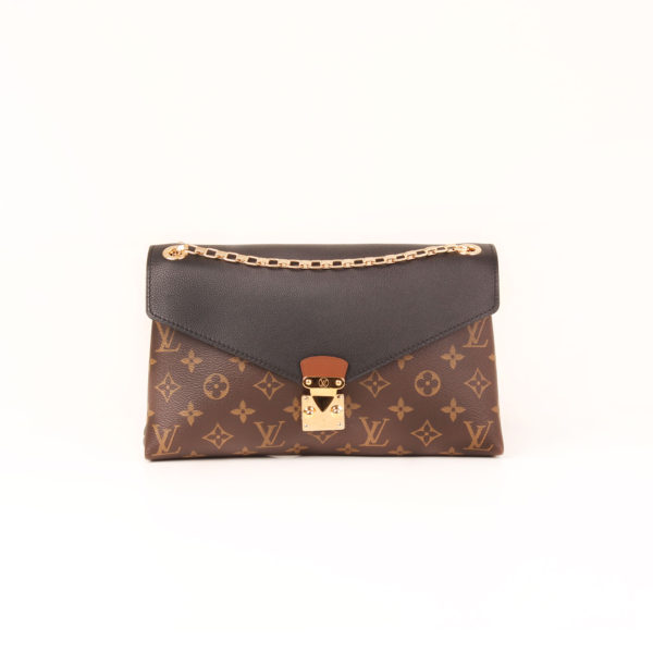 Front image of louis vuitton bag pallas black monogram