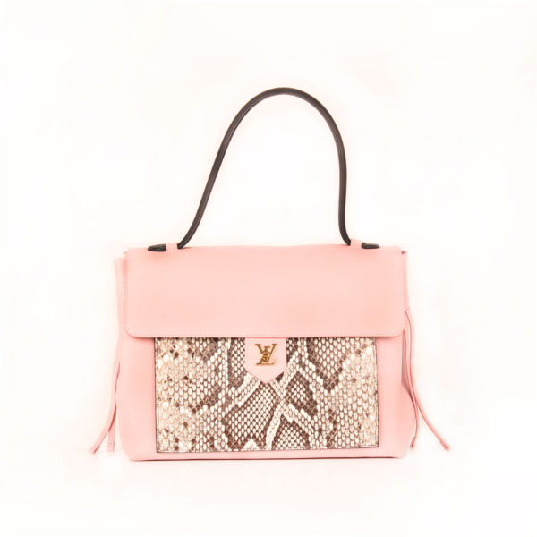 Front image of lv lockme pink bag