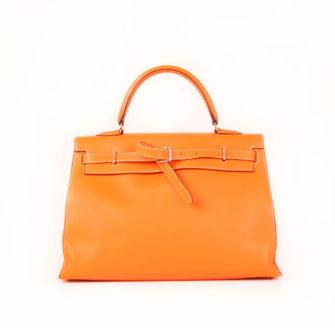 Imagen frontal 2 del bolso kelly flat 35 naranja
