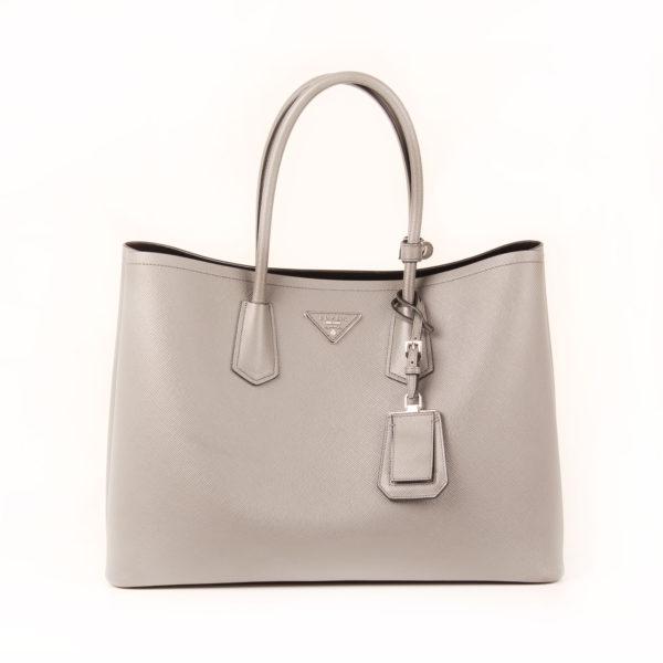 Front image of prada saffiano grey bag