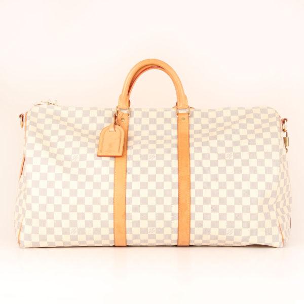 Front image of louis vuitton travel bag keepall 55 damier azur