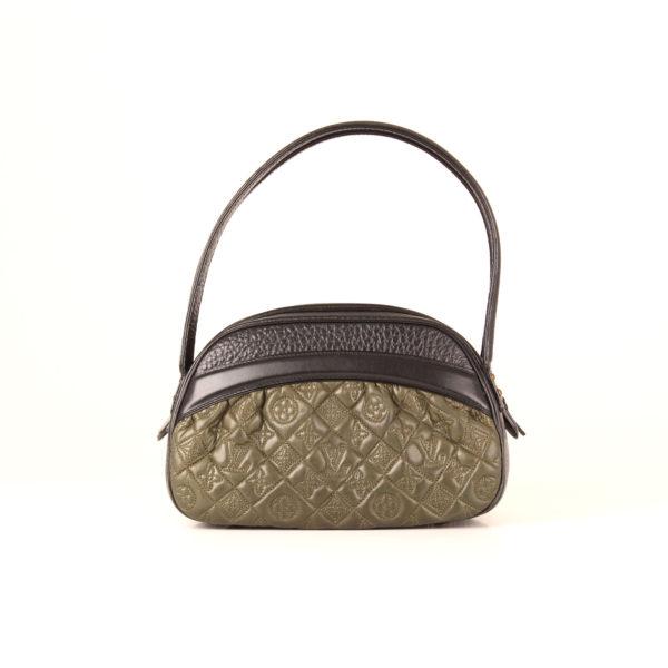 Front image of louis vuitton vienna klara green monogram embossed bag
