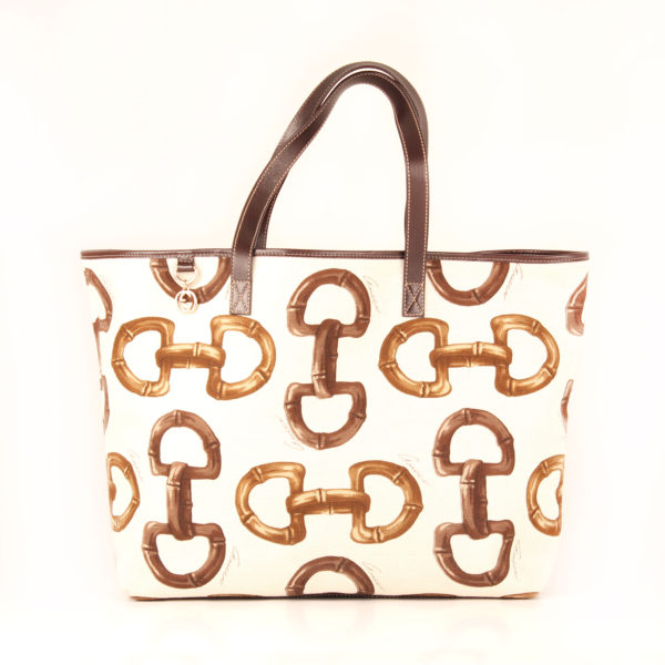 bag-shoulder-tote-gucci-canvas-horsebit-print-white-front