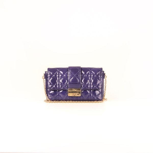 Front image of dior promenade purple patent bag