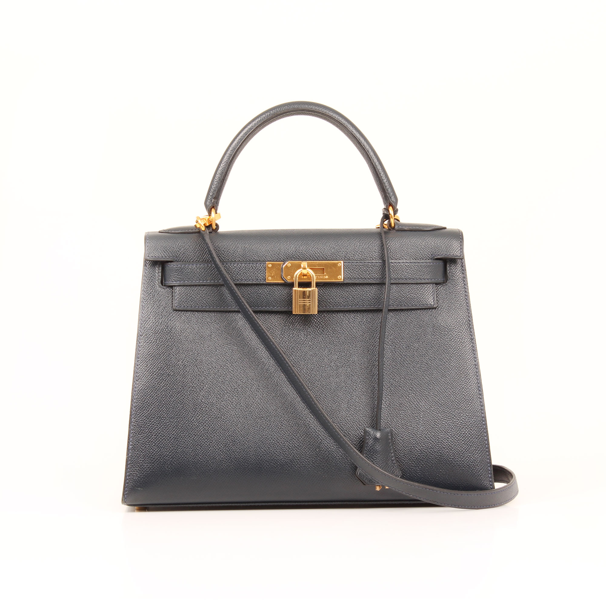 Front image of hermes kelly 28 epsom leather bleu de presse