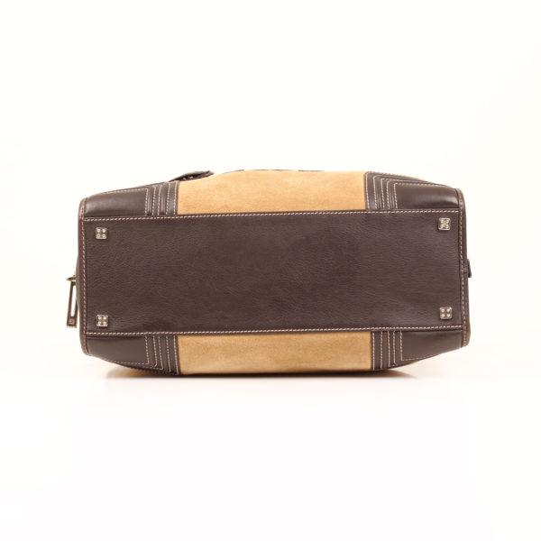 Imagen de base del bolso de mano loewe amazona 36 en suede beige y piel marron