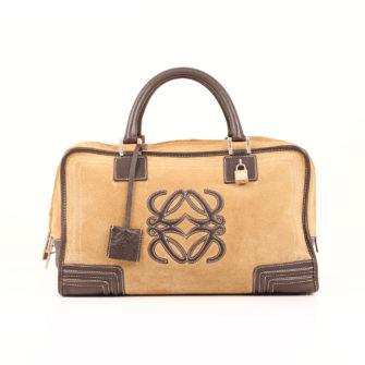 Imagen frontal del bolso de mano loewe amazona 36 en suede beige y piel marron