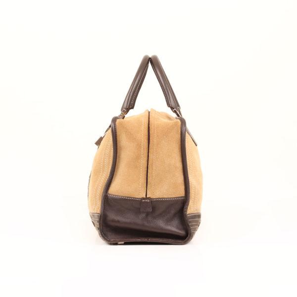 Imagen trasera del bolso de mano loewe amazona 36 en suede beige y piel marron